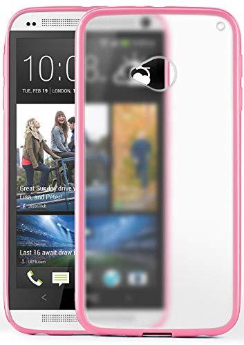 MoEx® Funda Mate [Transparente] Compatible con HTC One M7 | Borde Elevado y de Color, Rose vif