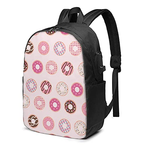 XCNGG Delicious Pinky Donut Pattern Backpack, Backpack with USB Charging Port and Headphone Cable Port, 17-Inch Backpack