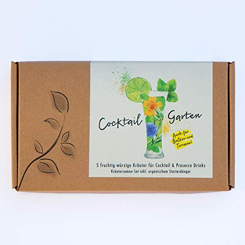 COCKTAIL GARTEN Geschenkbox - Samen von 5 fruchtig-würzigen Kräutern für Cocktail & Prosecco Drinks