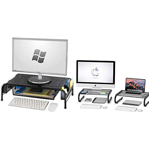 SimpleHouseware Metal Monitor Stand Riser with Drawer + Mesh Monitor Stand Riser