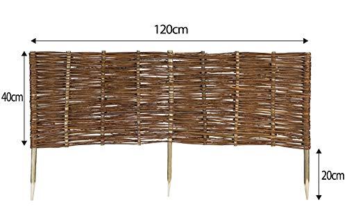 Mcsammler Weide Beeteinfassung in 16 Größen Weidenzaun Rasenkante Beetbegrenzung Steckzaun imprägniert mit Buchepflöcken für leichtes Einsetzen Länge: 120 cm Höhe: 40 cm