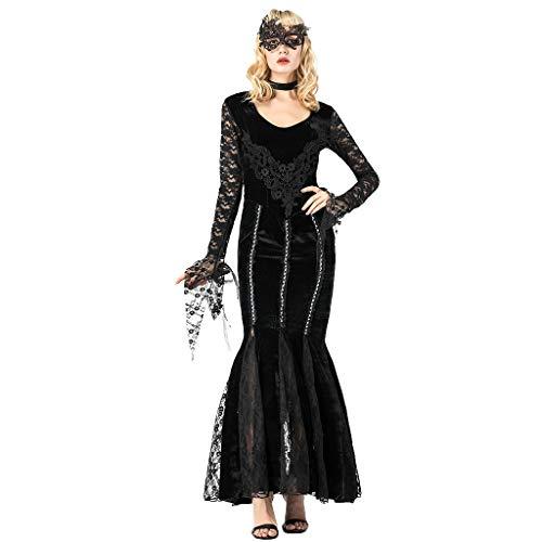 Kleider Halloween Kostüm Damen Zombie Braut Vampir Gruseliger Frauen Cosplay Vintage mittelalterlichen mysteriösen Black Witch Gothic Karneval Kostüm Cosplay Retro Tunika Gothic Kostüm(XL.Schwarz)