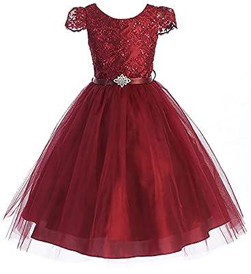 Glitter Rhinestone Shiny Tulle Beaded Sequin Easter Flowers Girls Dresses