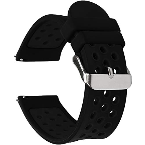 Universal 18mm 20mm 22mm 24mm Width Silicone Watch Band Replacement, Choose Size and Color (20mm, Black)