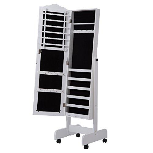 2 en 1 Espejo de Pie con Joyero para Interior Organizador de Joyas con 4 Ruedas - Color Blanco - MDF - 43x47x146 cm