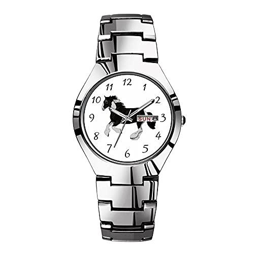 Relojes para hombre de acero plateado banda superior marca impermeable Japón reloj...