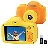 Kids Camera for Boys Girls Gifts with 16GB TF Card, 12MP Selfie 1080P HD Digital Video Camcorder Camera for Children Age 3-9 Shockproof Soft Silicone Mini Child Cameras with Flash (Yellow)