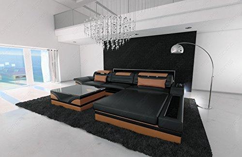 Sofa Dreams moderne lederen bank Parma in L-vorm als hoekbank met verlichting