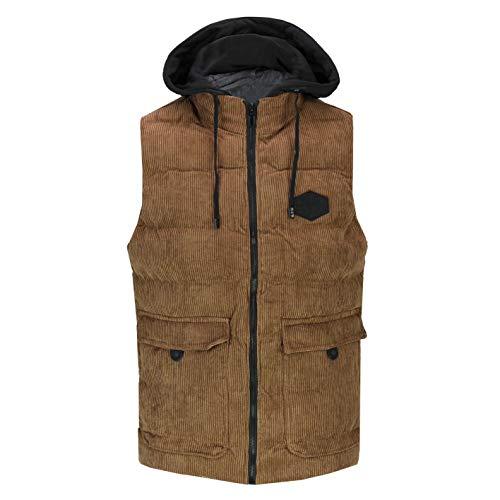 Xposed Los Hombres de Peso Ligero Acolchado Retro Countrywear Pana Cremallera Chaleco con Capucha Slim Fit Gilet del Chaleco [679-TAN-3XL]