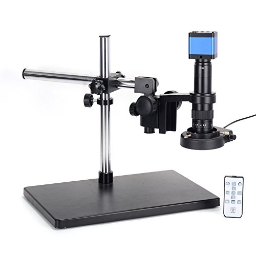 HAYEAR 16MP HDMI Microscope Camera Kit for Industry Lab PCB USB Output TF Card Video Recorder +180X C-Mount Lens + Big Stereo Stand +144 LED Light