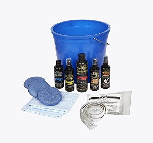 IBIZ Car Detailing Kit: Car Wash, Wax, Tire Shine, Leather Cleaner, Metal Cleaner & More