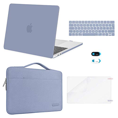 MOSISO Compatible with MacBook Pro 13 inch Case 2016-2020 Release A2338 M1 A2289 A2251 A2159 A1989 A1706 A1708, Plastic Hard Shell Case&Bag&Keyboard Skin&Webcam Cover&Screen Protector, Lavender Gray