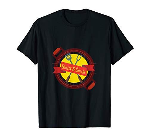 Grillin Chillin Grill Fleisch Sommer BBQ Design T-Shirt