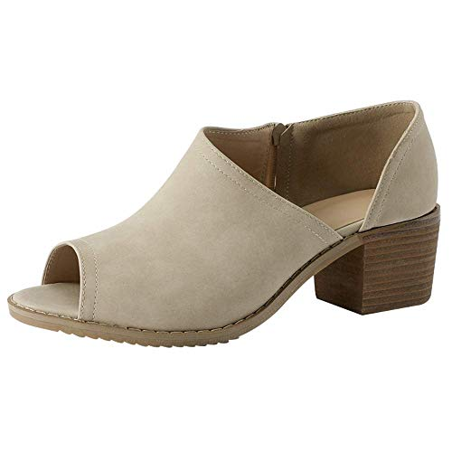 Women Low Heel Ankle Booties Slip On Vegan Suede Leather Cut Out Chunky Block Stacked Peep Toe Ankle Boots Shoes Khaki