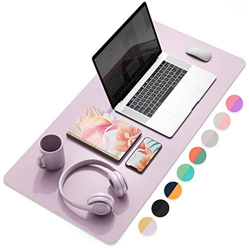 YSAGi Multifunctional Office Desk Pad, Ultra Thin Waterproof PU Leather Mouse Pad, Dual Use Desk Writing Mat for Office/Home (31.5' x 15.7', Grayish Lavendar+Cinnamon Buff)