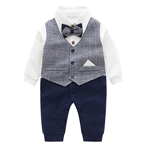 Famuka Baby Strampler Baby Jungen Smoking Anzug Spieler Taufe Hochzeit Partei Babykleidung (Grau, 66)