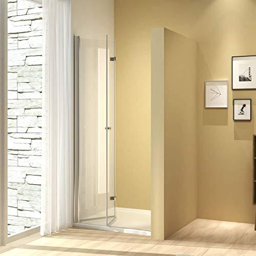 Meykoers Duschtür 90x185cm Duschkabine Nischentür Duschwand Glas, Duschabtrennung Nische mit Falttür, Duschtrennwand Faltwand aus 6mm ESG Sicherheitsglas ohne Duschtasse