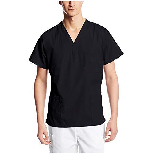 Kasack Herren Pflege Einfarbig Herrenkasack Schlupfkasack Kurzarm V-Ausschnitt Pflegekleidung mit Taschens Arbeitskleidung Uniformen Krankenpfleger Mediznischer Arzt Berufskleidung