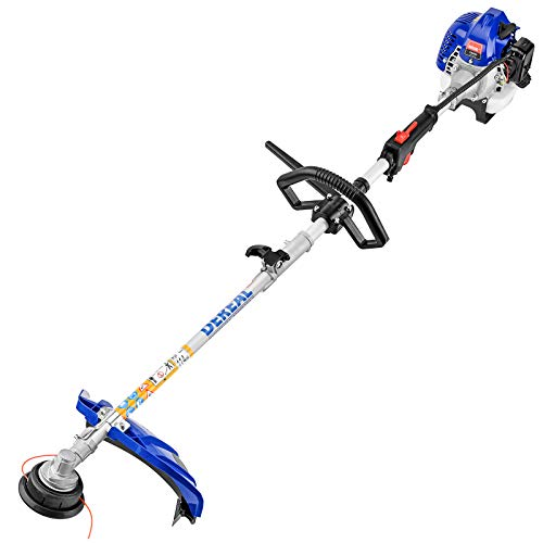 DEREAL Pro 25.4CC Full Crank Gas-String-Trimmer 2-Cycle Gas Brush Cutter Gasoline Powered Grass Weed-Easter Wacker Attachment Capabilities for Lawn Care, Liberty