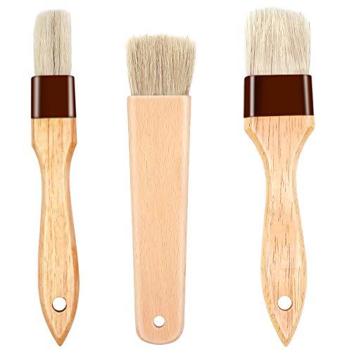CKANDAY - Set di 3 pennelli da pasticceria con setole naturali e manico in legno di faggio, pennello per olio per grigliate, barbecue, spalmabili, burro, cottura e grigliate (1, 1,5, 1,8 pollici)
