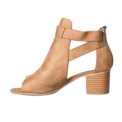IOSHAPO Moda para Mujer Cortes de Tobillo Correa Hebilla Sandalias Hollow out Tacones Gruesos Zapatos de Vestir de Punta Abierta