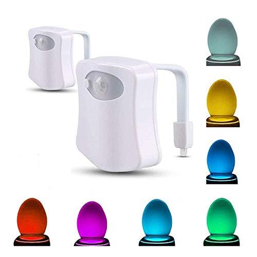 Topways® LED Toilettenlicht, PIR Sensor Motion Sensor WC Nachtlicht Batteriebetriebenes Toilettenlicht Toilettenbeleuchtung 8 Farben für Badezimmer 2 Stück