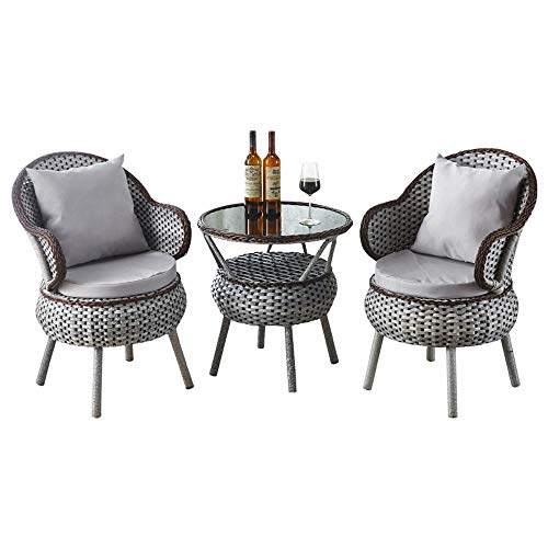 NVBXDF Rattan Garden Furniture Set Patio Conservatory Indoor Outdoor 3 Piece Set Table Chair Table Set Balcony Lounge Set 2x Chairs Rattan And 1x Table Rattan Garden -Gray