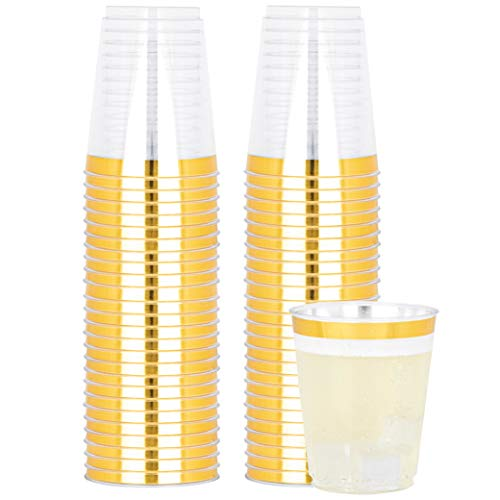 Plasticpro Disposable 10 oz Crystal Clear Plastic Tumblers With Gold Rim for Party's & Weddings pack of 50