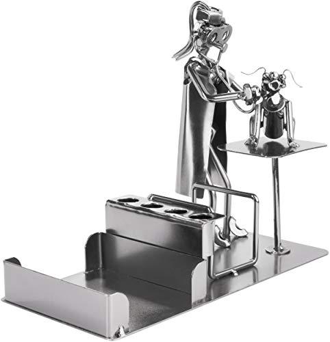 BRUBAKER Tornillo Hombre Veterinario con Portabolígrafos - Figura de Acero Hecha a Mano Hombre de Metal con Tarjetero y Bolsillo para Notas - Figura de Metal con Perro Idea de Regalo Veterinarios