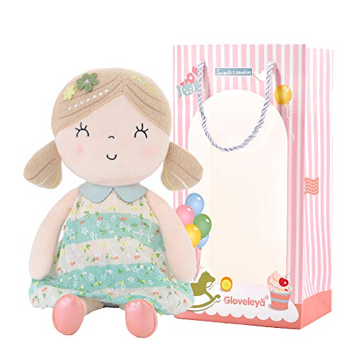 Gloveleya Baby Doll Girl Gifts Cloth Dolls Plush Toy Green 17 Inches with Gift Box