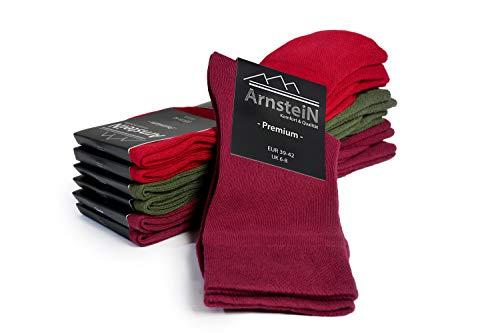 ArnsteiN Premium 6 Paar Herrensocken rot grün bordeaux-Größen 39-46-klassische Socken Freizeit/Arbeit-Damen Herren-Öko Tex 100 -hochwertige Baumwolle ohne Gummi (Olive-Beere-Bordeaux, 39-42)