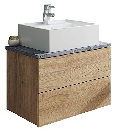 Mueble baño Moderno imitación mármol Color Roble con Lavabo encimera cerámico 60x45 Sin Espejo