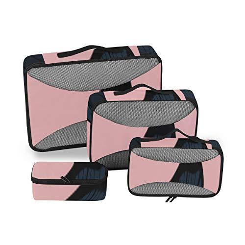 Gepäckorganisatoren für Reisen Kreative Mode Rosa Schwarzes Blatt Verpackungswürfel Veranstalter Reiseorganisation Reisewürfel 4-teiliger Kofferorganisator Leichte Gepäckaufbewahrungstasche