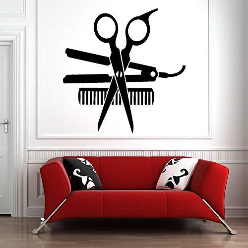 Barbería pared calcomanía arte pared pegatina herramienta permanente pared vinilo decoración salón de belleza patrón peluquería