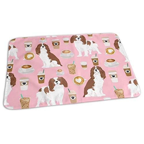 Cavalier Koning Karel Spaniel Koffie Stof Spaniel Hond Stof Honden Stof/Weefsel, Baby Draagbare Herbruikbare Verwisselbare Pad Mat 25,5 x 31,5