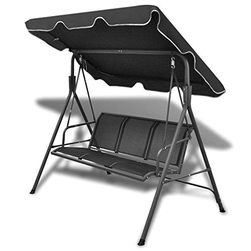 tidyard Hollywoodschaukel Gartenschaukel mit Sonnendach 3-Sitzer Schaukel Stuhl Schaukelbank Gartenm?bel Stahlrahmen 178 x 112 x 155 cm Schwarz