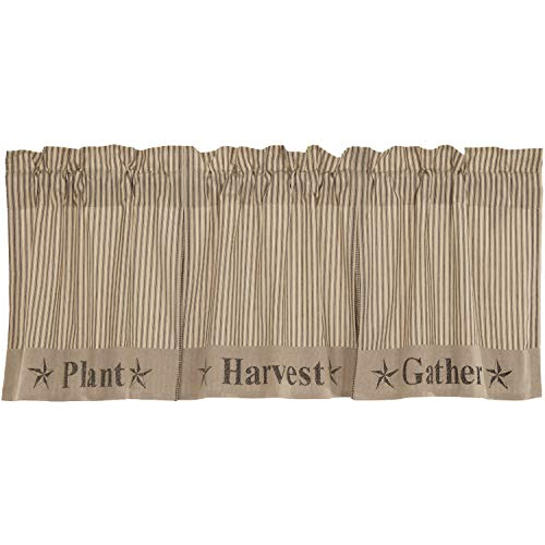 VHC Brands Sawyer Mill Plant, Harvest, Gather Text Chambray Cotton Farmhouse Thanksgiving Decor Rod Pocket Hanging Loops Pleated 20x90 Valance, Dark Creme White