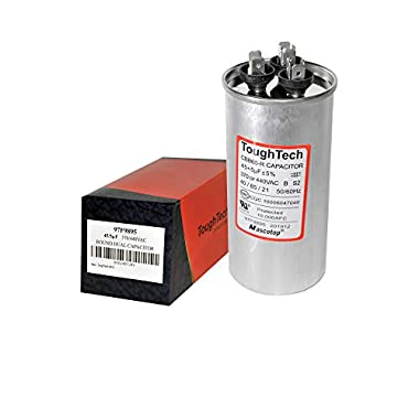 ToughTech 40+5 uf MFD 97F9838 Dual Run Round Capacitor 370 or 440 VAC for Air Conditioner