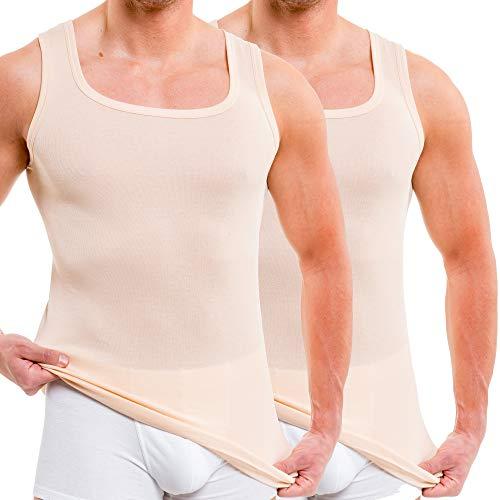 HERMKO 16025 2er Pack Herren Unterhemd aus Baumwolle/Modal, Größe:D 5 = EU M, Farbe:Cream (hautfarben)