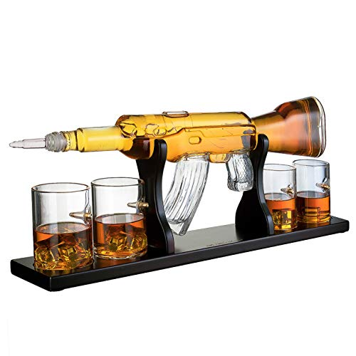 Gun Large Decanter Set Bullet Glasses - Limited Edition Elegant Rifle Gun Whiskey Decanter 22.5' 1000ml With 4 Bullet Whiskey Glasses and Mohogany Wooden Base By The Wine Savant