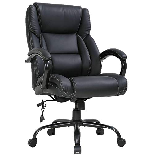 Big and Tall Office Chair 500lbs Ergonomic PU Leather Executive Office Chair w/Built-in Massage Lumbar Support Thick Padding Headrest & Padded Armrest, High Back Computer Desk Chair for Home Office
