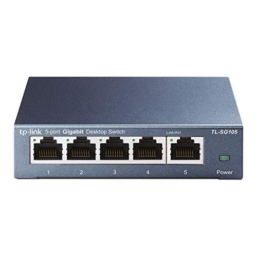 TP-Link TL-SG105 - Switch 5 Puertos 10/100/1000 MBps Switch ethernet, Switch gigabit, Indicador del estado, acero inoxidable con Super disipación de calor, IGMP snooping, QoS, Negro