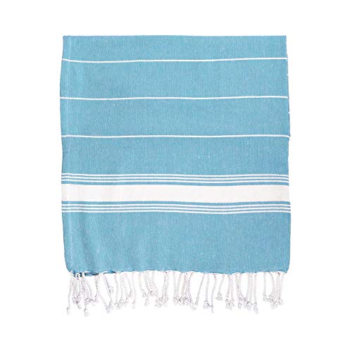 Nicola Spring 100% Türkisch Baumwolle Handtuch | Strand Bad Fitnessraum Sauna | Hammam Pestemal Fouta Stil Wurfblatt - Light Blue