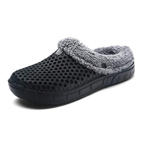Hombres Mujer Invierno Calentar Zapatillas Zuecos Ponerse Jardín Pelaje Forrado Zapatilla Zapatos Negro 42 EU