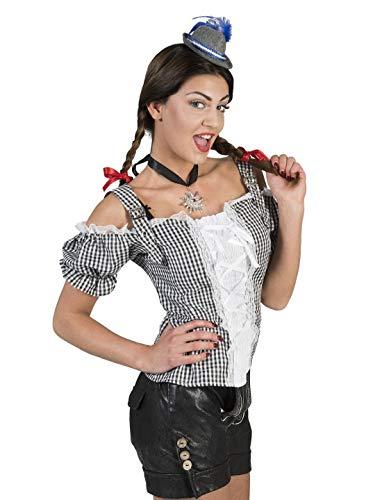 erdbeerclown - Damen Frauen Kostüm Schulterfreie schwarz weiß Karierte Dirndl Bluse mit Pump-Ärmel, Black White Checkered Tirol Shirt, perfekt für Das Oktoberfest Karneval und Fasching, 2XL, Schwarz