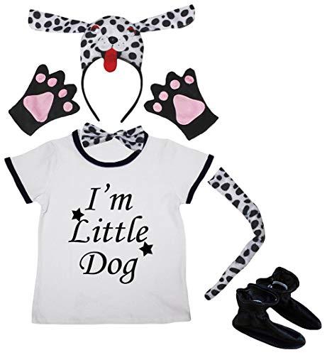 Petitebelle Disfraz de 3D dlmata, 6 piezas, con camiseta blanca para perro