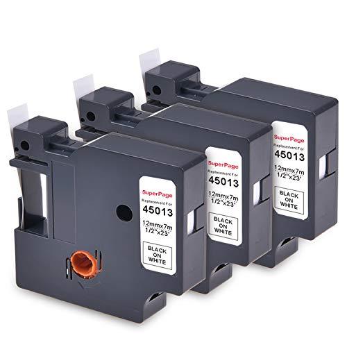 3 Superpage Schriftband Etikettenband Kompatibel für Dymo 45013 Beschriftungsband Farbbband für Dymo LabelManager, 12mm x 7m,Schwarz auf Weiß