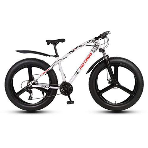 CHERRIESU Bicicleta de montaña para Hombres y Mujeres Adultos, Bicicleta de Deporte de la montaña, MTB con 27 etapas de turnos, neumático de Grasa de 26 Pulgadas con 3 Ruedas de Cuchillo,Blanco