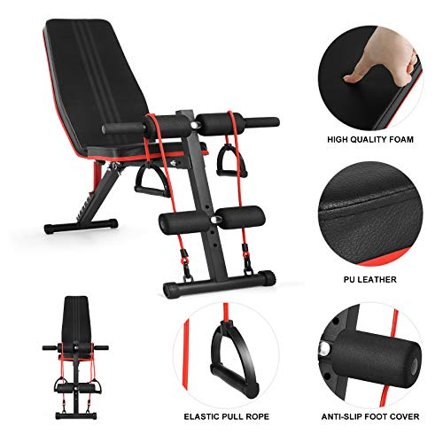 Fitnessclub Weight Bench, Multi-Purpose Foldable Incline Decline, 7 Position Adjustable Workout Bench With Pull Rope for Home Gym Full Body Workout Strength Fitness Training Exercise, 600 lbs Capacity