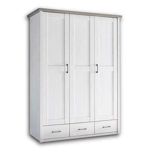 LUCA Eleganter Kleiderschrank Babyzimmer 3-türig - Vielseitiger Drehtürenschrank mit viel Stauraum in Pinie Weiß / Trüffel - 148 x 201 x 62 cm (B/H/T)